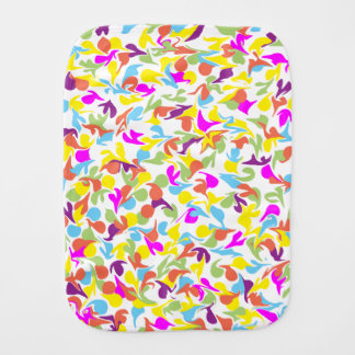 Blobs of Color on White Burp Cloth