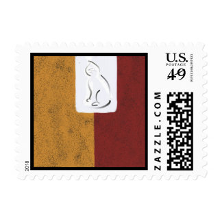 Block Abstract with Cat Postage