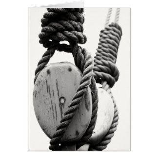 Block and tackle of old sailing ship stationery note card