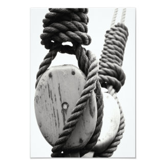 Block and tackle of old sailing ship 3.5x5 paper invitation card