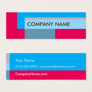 Block Design Mini BC, Blue Red Mini Business Card