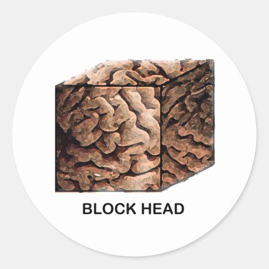 Block Head Classic Round Sticker