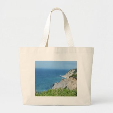 Block Island Bluffs - Block Island, Rhode Island Large Tote Bag