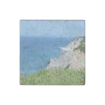 Block Island Bluffs - Block Island, Rhode Island Stone Magnet