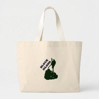 Block Island Diagonal Text Tote Bags