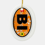 Block Island. Double-Sided Oval Ceramic Christmas Ornament
