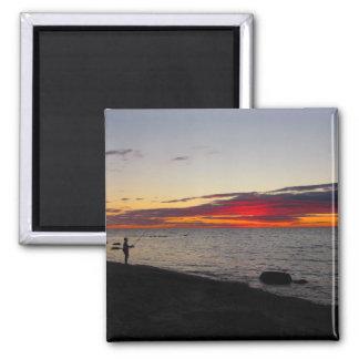 Block Island Fisherman Sunset 2 Inch Square Magnet