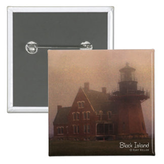 Block Island Lighthouse 2 Inch Square Button