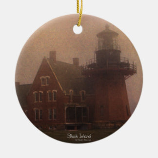 Block Island Lighthouse Double-Sided Ceramic Round Christmas Ornament