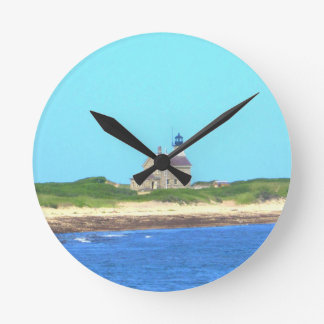 Block Island North Light Round Clock
