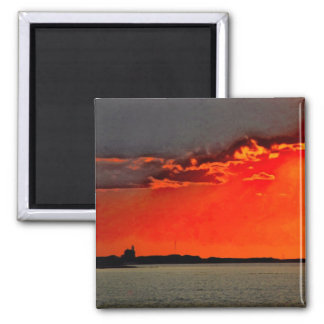 Block Island North Lighthouse at Sunset Painting 2 Inch Square Magnet