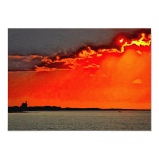 Block Island North Lighthouse at Sunset Painting 5x7 Paper Invitation Card