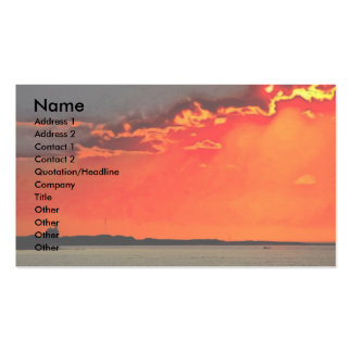 Block Island North Lighthouse at Sunset Painting Business Card