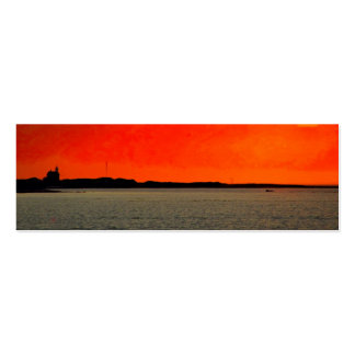 Block Island North Lighthouse at Sunset Painting Double-Sided Mini Business Cards (Pack Of 20)