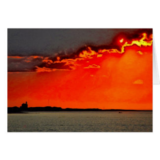 Block Island North Lighthouse at Sunset Painting Greeting Card