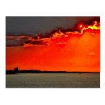 Block Island North Lighthouse at Sunset Painting Postcard