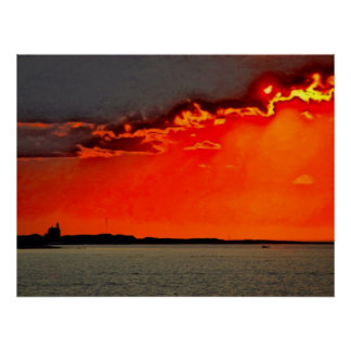 Block Island North Lighthouse at Sunset Painting Poster