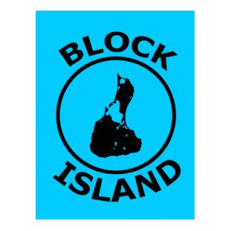 Block Island Shape Inside Circle Postcard