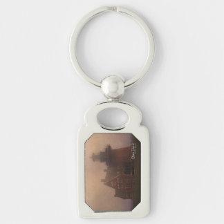 Block Island Silver-Colored Rectangular Metal Keychain