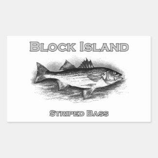 Block Island Vintage Striped Bass Logo Rectangular Sticker