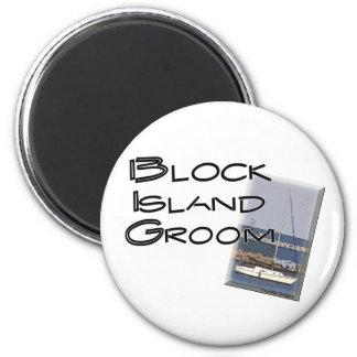 Block Island Weddings, Groom 2 Inch Round Magnet