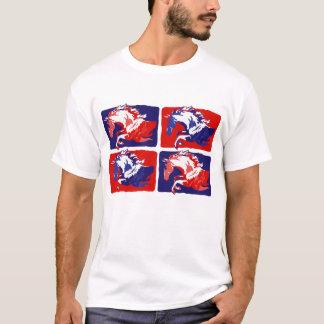 block jumping horses red & Blue T-Shirt