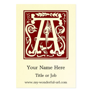 """Block Letter """"A"""" Woodcut Woodblock Inital Business Card"""