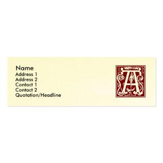 "Block Letter ""A"" Woodcut Woodblock Inital Business Cards"