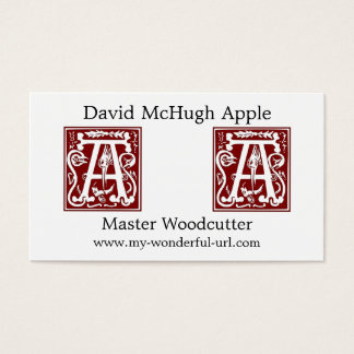 "Block Letter ""A"" Woodcut Woodblock Inital Business Card"