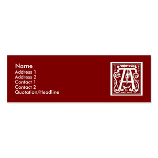 "Block Letter ""A"" Woodcut Woodblock Inital Double-Sided Mini Business Cards (Pack Of 20)"