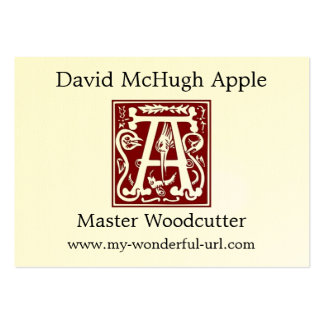 "Block Letter ""A"" Woodcut Woodblock Inital Large Business Cards (Pack Of 100)"