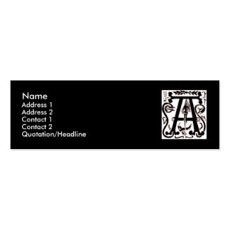 "Block Letter ""A"" Woodcut Woodblock Inital Business Card Templates"