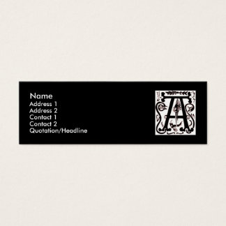 "Block Letter ""A"" Woodcut Woodblock Inital Mini Business Card"