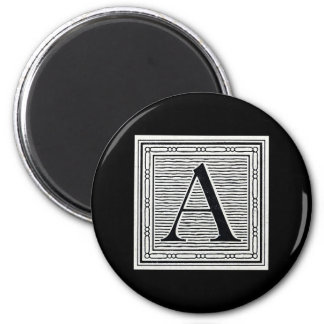 """Block Letter """"A"""" Woodcut Woodblock Initial 2 Inch Round Magnet"""