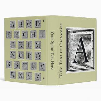 "Block Letter ""A"" Woodcut Woodblock Initial 3 Ring Binder"