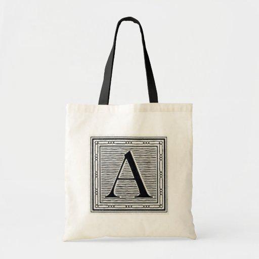 "Block Letter ""A"" Woodcut Woodblock Initial Budget Tote Bag"