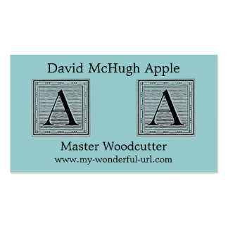 """Block Letter """"A"""" Woodcut Woodblock Initial Business Card Template"""