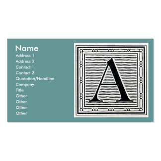 """Block Letter """"A"""" Woodcut Woodblock Initial Business Cards"""