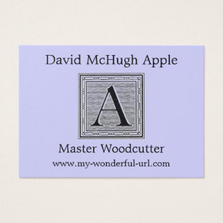 "Block Letter ""A"" Woodcut Woodblock Initial Business Card"