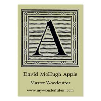 "Block Letter ""A"" Woodcut Woodblock Initial Large Business Cards (Pack Of 100)"