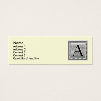 "Block Letter ""A"" Woodcut Woodblock Initial Mini Business Card"