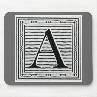 """Block Letter """"A"""" Woodcut Woodblock Initial Mouse Pad"""