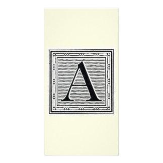 "Block Letter ""A"" Woodcut Woodblock Initial Photo Card"