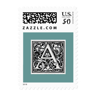 "Block Letter ""A"" Woodcut Woodblock Initial Postage"