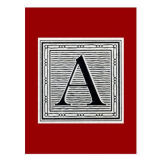 Block Letter A Woodcut Woodblock Initial Postcard
