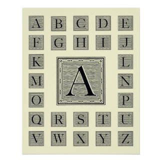 """Block Letter """"A"""" Woodcut Woodblock Initial Poster"""