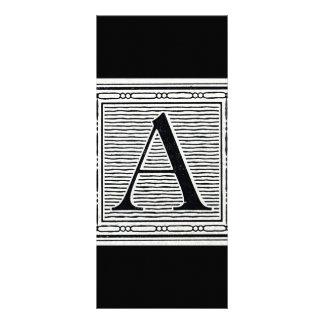 Block Letter A Woodcut Woodblock Initial Custom Rack Cards