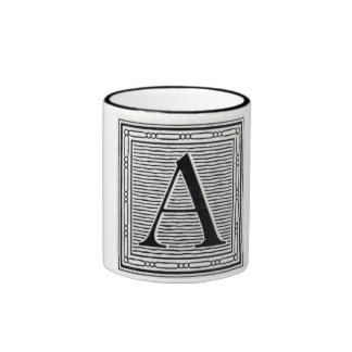 "Block Letter ""A"" Woodcut Woodblock Initial Ringer Mug"