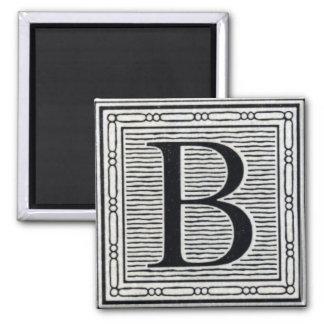 "Block Letter ""B"" Woodcut Woodblock Inital 2 Inch Square Magnet"