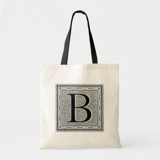 "Block Letter ""B"" Woodcut Woodblock Inital Tote Bags"